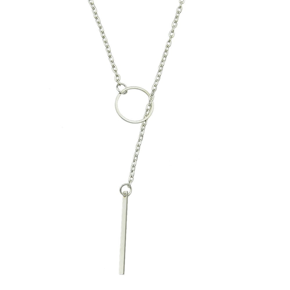 Feelontop® Cheap Jewelry Alloy Gold Silver Plated Long Chain Necklace with Jewelry Pouch NC-6679-SILVER
