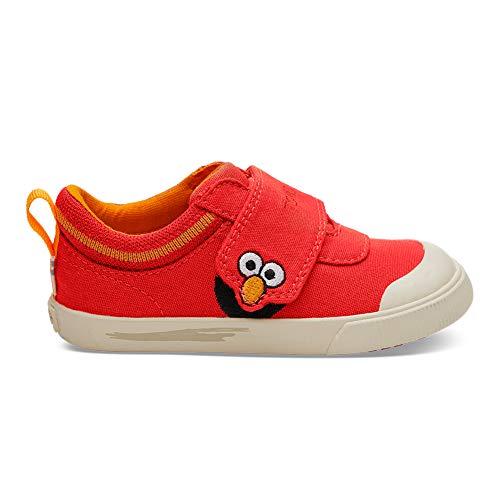TOMS Kids Unisex Sesame Street Doheny (Toddler/Little Kid) Red Elmo Face Canvas 11 M US Little Kid