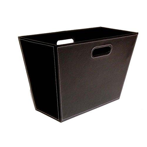 The Lucky Clover Trading Roosevelt Faux Leather Magazine Holder Bin Basket, Black (Black Faux Leather Magazine Basket)