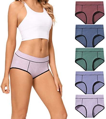 Details about  /POKARLA Women/'s Cotton Stretch Underwear Ladies Mid-high Waisted Briefs Panties