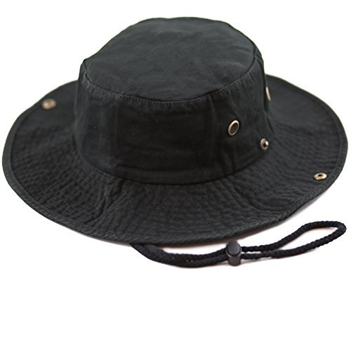 (THE HAT DEPOT 300N1510 Wide Brim Foldable Double-Sided Outdoor Boonie Bucket Hat (S/M, Black) )