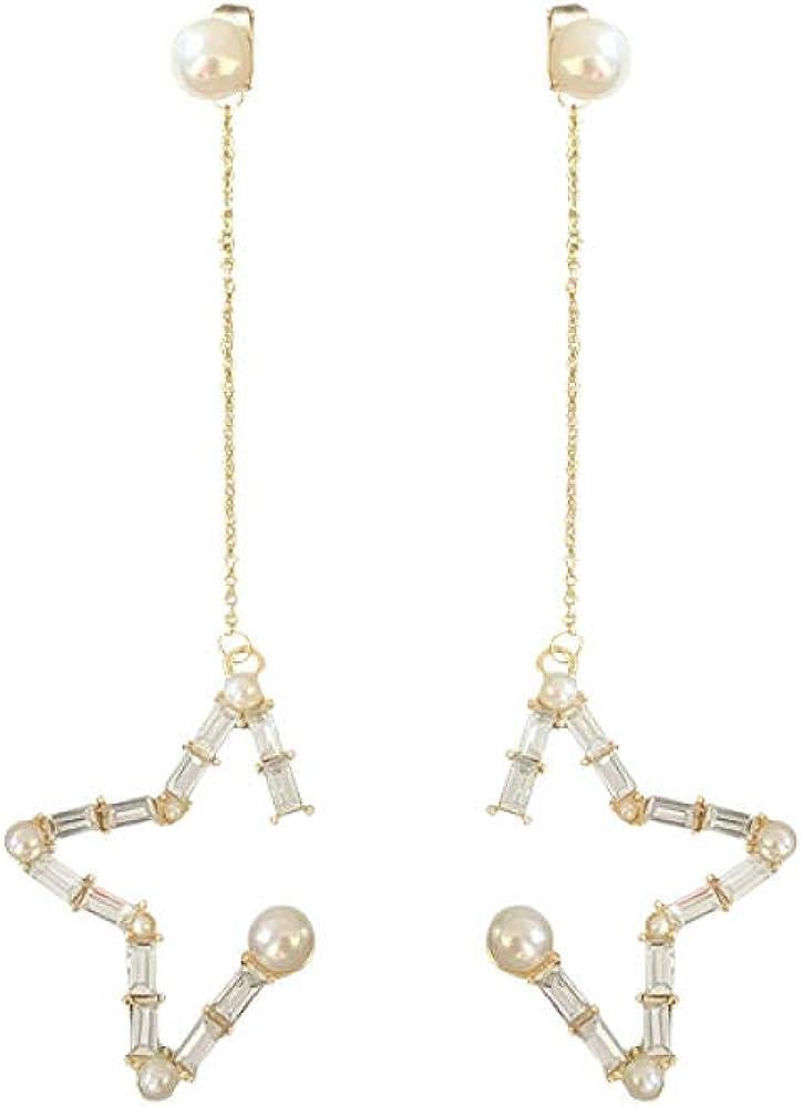 Aretes colgantes para mujer en plata de ley larga Pendientes personalizados de borla con estrella y perlas de diamantes Hipoalergénico Regalo hermoso y elegante SDHJMT