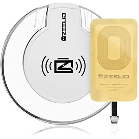 Wireless Charger, Zeelio Qi Wireless Charging Kit [Ultra Slim] Wireless iPhone Charger For iPhone 7 , 7 Plus , 6, 6 Plus , 6s , 5s , 5c Qi Charger + Qi Receiver (Cargador Palm)