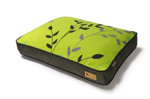P.L.A.Y. Rectangular Bed with Eco-Friendly Filler and 100-Percent Cotton Cover,Green/Greenery, My Pet Supplies