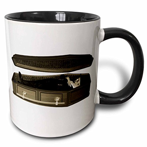 3dRose Blonde Designs Happy and Haunted Halloween - Halloween Casket and Body - 15oz Two-Tone Black Mug (mug_131045_9)]()
