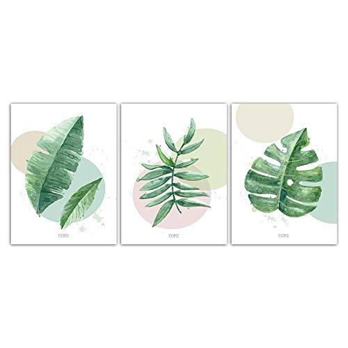 (LLXHG Nordic Watercolor Leaf Series Canvas Painting Print Hd Picture Poster Wall Art for Living Room Bedroom Bedside Home Decoration 3Pcs No Frame6080Cm)