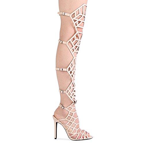 Womens Alti Buckle Tacchi Stiletto Nudo 8 Pointed Peep 3 Toe Straps rxFrg