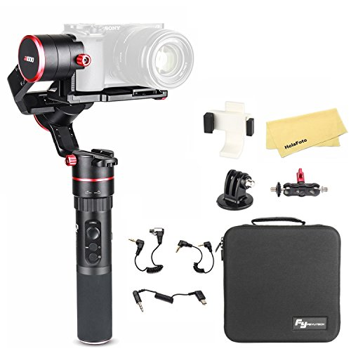 FeiyuTech Feiyu a1000 3-Axis Gimbal Stabilizer for Sony a6500 a6300 a6000 RX100 IV III II RX10, Panasonic G7, iPhone X 8 7Plus, Samsung Galaxy S8, GoPro Hero 6 5, Payload 150-1700g, with carrying case