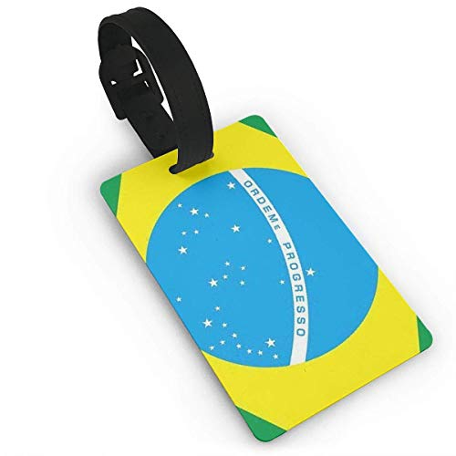 Pejer Unisex Premium Luggage Tags With Hand Strap Flag of Brazil Luggage Tags Label Cruise Instrument Bag Case Tags ()