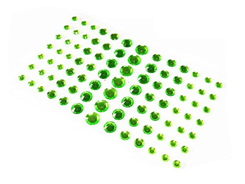 Elandy 1Sheet(91PCS) 4 Different Sizes Self-Adhesive Craft Jewels Flatback Rhinestone Crystal Gems Stickers for Crafts Body Eyes Nail Makeup Festival Carnival (Green)