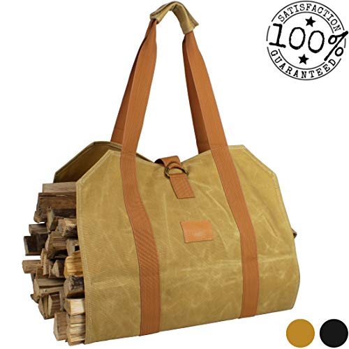 Off the Grid Firewood Log Carrier Bag - Waxed Canvas Wood Bag - Campfire, Fireplace, Bonfire, Accessories (Khaki)