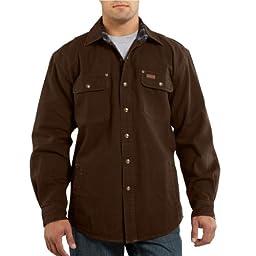 Carhartt Men\'s Weathered Canvas Shirt Jacket Snap Front,Dark Brown,X-Large