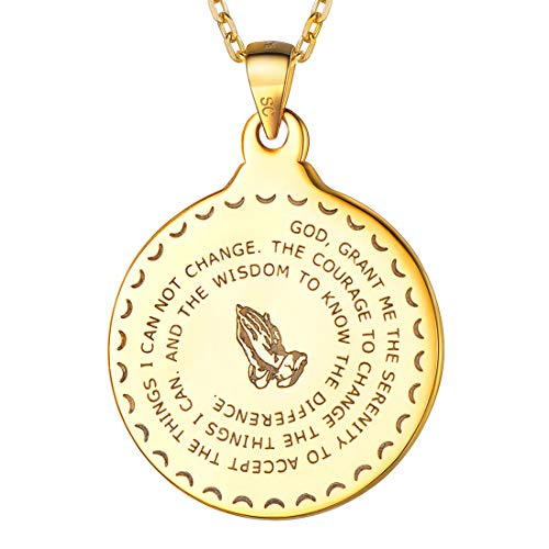 (U7 Bible Verse Prayer Necklace Matthew 6:9-13 Engraved Men Women Christian Jewelry 925 Sterling Silver Praying Hands Coin Medal Pendant Necklace, Chain 20