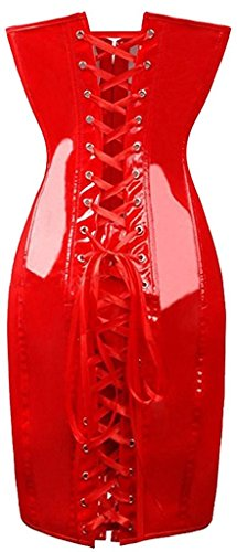 BABY-QQ Sexy Womens Faux Leather Vintage Club Party Corset Dress RedXXL/Bust:36-38inch Waist:30-32inch