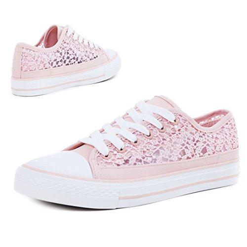 Klassische Unisex Damen Herren Schuhe Low High Top Sneaker Turnschuhe Pink Spitze