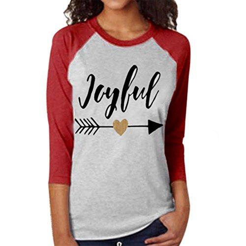 Fineshow Women Joyful Three Quarter Sleeve T-shirt Blouse Tops Tee Clothes (XL, Red)