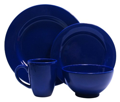 Waechtersbach Fun Factory II Royal Blue 4-Piece Dinnerware Set, Service for One