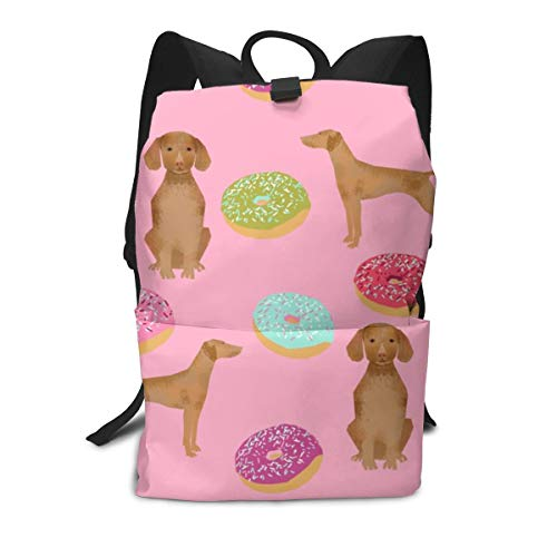 Backpack vizsla dogs donut food novelty funny cute pink donuts love Laptop Backpack Student School Bookbag Casual Durable Rucksack Travel Daypack