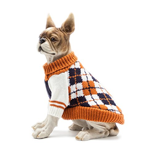 Scheppend Dog Pullover Jumpers Sweater Knit Pet Argyle Turtleneck Knitwear Winter Warm Coat, Orange XS