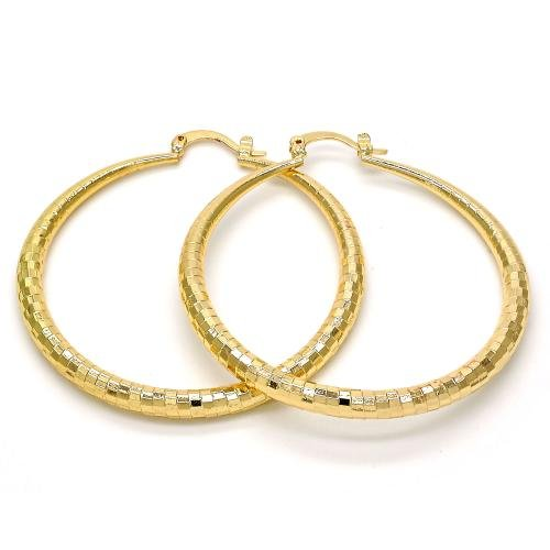 Womens14K Gold Layered Hoop Earrings Diamond Cut Finish 2 inches wide Gold Tone