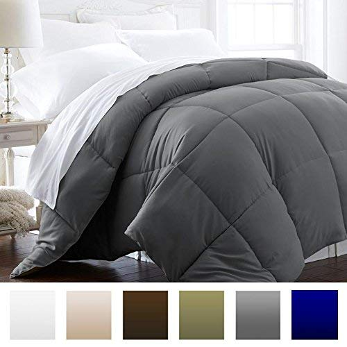 Beckham Hotel Collection 1600 Series - Lightweight - Luxury Goose Down Alternative Comforter - Hotel Quality Comforter and Hypoallergenic - King/Cali King - Slate Gray (Oversized Ca King Down Comforter)