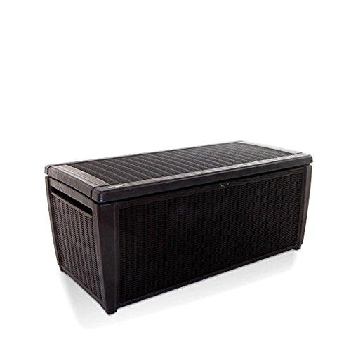 Keter Sumatra Rattan Style Jumbo Plastic Garden Storage Deck Box XL - 511 Litre Capacity