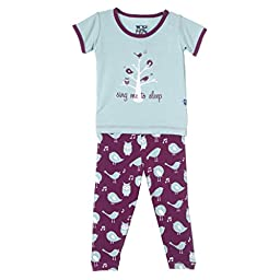 KicKee Pants Short Sleeve Pajama Set Little Girls, Melody Singing Birds, Girls 5