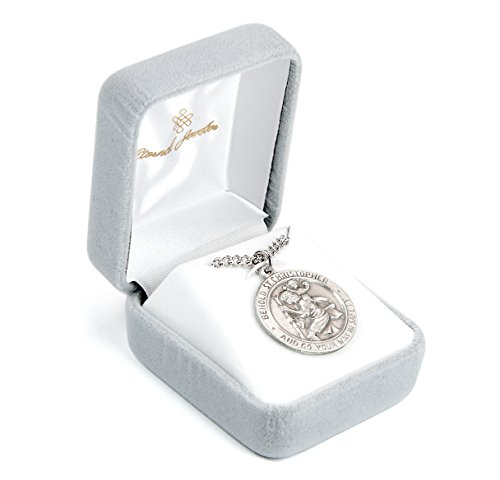 Eternal Jeweler Saint Christopher Pewter Medal | 24 Inch Stainless Steel Chain (Full)