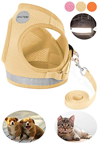 GAUTERF Pet Harnesses,Cat, Dog, Harnesses Leashes Pulling, Kitten Puppy Small Pet Adjustable Soft Net Reflective Pet Harness Leash Set (X-Small, ()