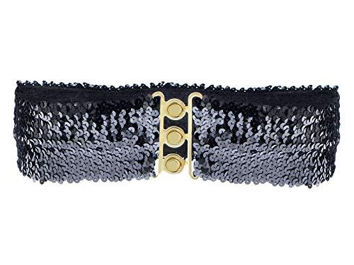 (Anna-Kaci Women's Sparkly Glitter Sequin Wide Stretch Elastic Belt Accessory,Black,One Size)