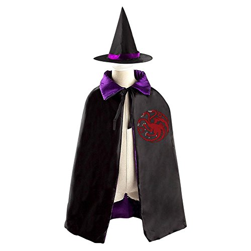 Grrm Costume (Game of Thrones Dragon Kids Halloween Party Costume Cloak Wizard Witch Cape With Hat)