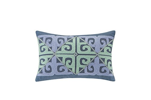 Echo Design Kamala Fashion Cotton Throw Pillow, Global Inspired Embroidered Oblong Decorative Pillow, 12X18, Indigo (Bedding Echo Pillows)