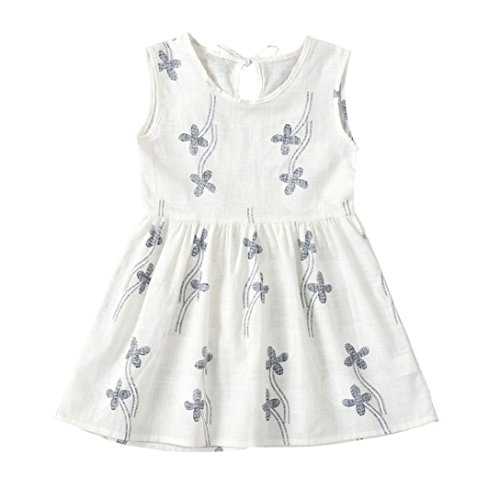 - Jarsh Toddler Baby Girls Flower Floral Dot Printed Sleeveless Princess Dress, Summer Simple Style Dresses for Girl (White, 3T(2-3Years Old))