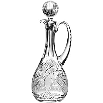 Joy Design Hand Cut Oversized Decanter 46 oz - Made in Europe With Handle Crystal Mouth Blown Barski