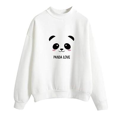 Lenfesh Sudaderas Primavera Moda Mujer Manga Larga Suelta Panda Impresa Sudadera Blusa Tops Camiseta Sudaderas Cortas Casual: Amazon.es: Ropa y accesorios