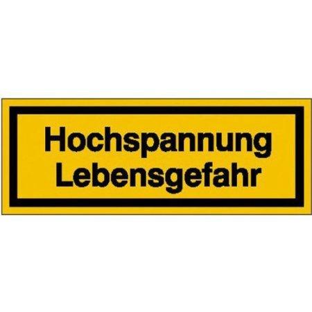 Hochspannung Lebensgefahr Warnschild, selbstkl. Folie , Größe 10,50x3,70cm