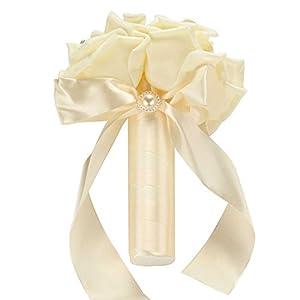 Adealink Six Heads Foam Roses Silk Ribbon Bouquet Handmade Rhinestone Diamante Bridal Bridesmaid Brooch Wedding Decor 116