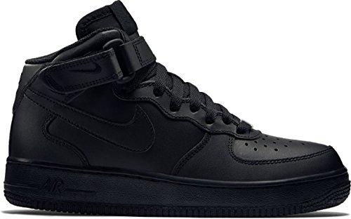Nike Big Kids Air Force 1 Mid 314195-004 (Black/Black, 4.5) (Boys Nike High Top Shoes)