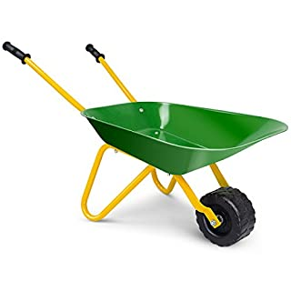 Costzon Kids Metal Wheelbarrow, Yard Rover Steel Tray, Metal Construction Toys Kart, Tote Dirt/Leaves/Tools in Garden for Toddlers, Green
