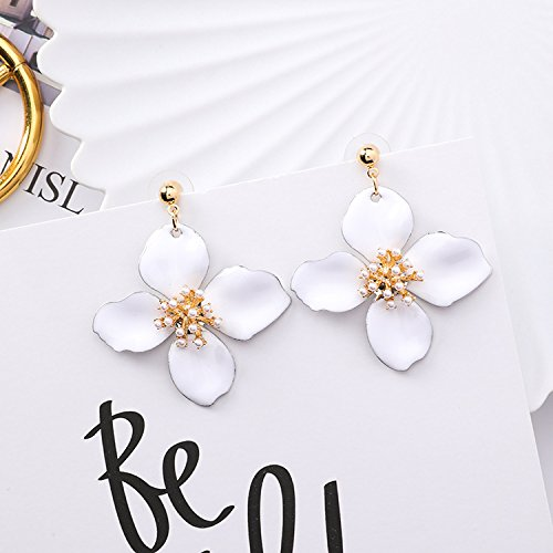 High-Season MENGJIQIAO 2018 New Arrival Exaggerate Enamel Big Flower Dangle Earrings For Women Simulated Pearl Beads Elegant Summer Brincos (White)