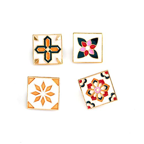 (mengmart 4pcs Vintage Flower Brooch Square Pin Brooch Wall Tiles Design Green)