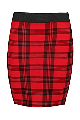 Oops Outlet Women's Printed Elastic Waist Band Bodycon Slim Fit Short Mini Skirt