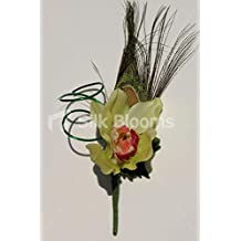 Green Orchid Wedding Buttonhole w/ Peacock Feather & Wire Spiral