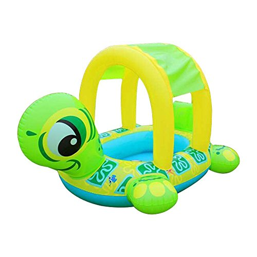 - LOHOME Baby Pool Float - Inflatable Infant Swiming Ring with Sun Canopy Baby Safe Sit with Sunshade for Swim Training (Tortoise.)