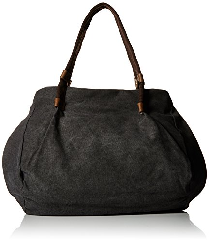 Gootium 20701BLK Schwarze leinene Damentasche mit Schulterriemen, Schwarz