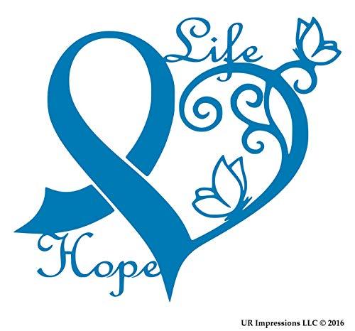 UR Impressions ABlu Cancer Awareness Ribbon Heart Butterfly Vine - Life Hope Decal Vinyl Sticker Graphics Car Truck SUV Van Wall Window Laptop Azure Blue 6.4 X 5.5 Inch URI442-AB