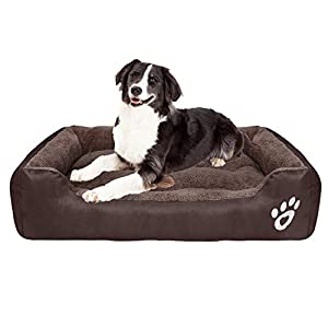 CLOUDZONE Dog Bed Machine Washable Rectangle Breathable Soft Cotton with Nonskid Bottom Extra Large Pet Bed for Medium…
