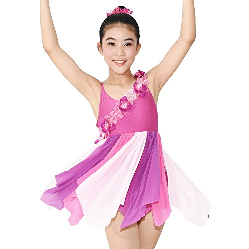 MiDee Girls' Camisole Asymmetrical Floral Lyrical Dress Dance Costume(LC, Multi Color) (Dance Costumes For Competition Lyrical)
