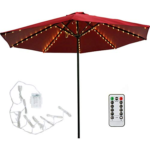 Patio LED Umbrella String Lights, 104 LEDs 8 Lighting Mode with Remote Control Umbrella Lights Battery Operated Waterproof Outdoor Lighting for Patio Umbrellas Outdoor Use Camping Tents (Warm White)