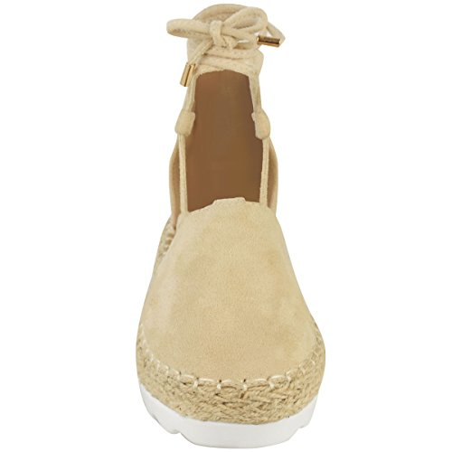 Tie Suede Womens Shoes Thirsty Espadrilles Fashion Summer Size Lace Nude Sandals Faux Flat Up tOACqxw